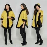 Womens Lime Faux Cashmere Cape With Hood K1334